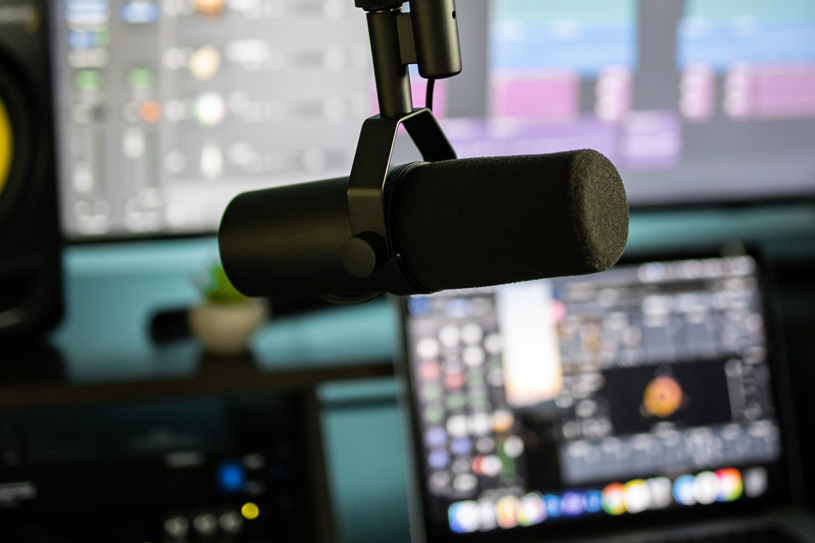 A Microphone in a Recording Booth