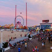 Crowded boardwalk in Ocean City, MD